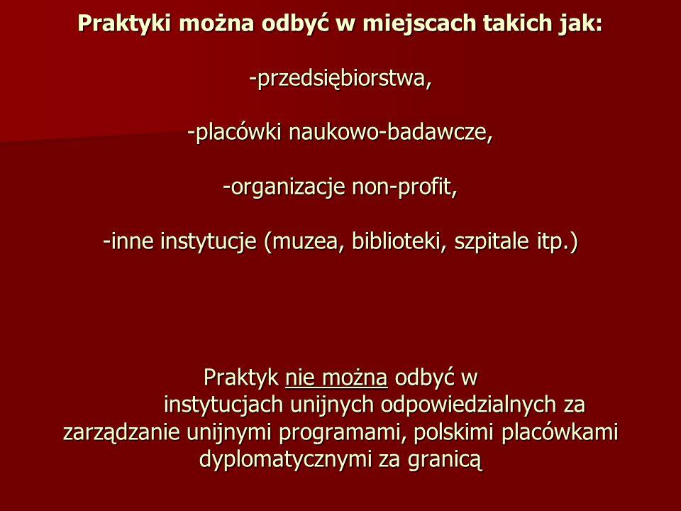 Praktyki można odbyć w miejscach takich jak: -przedsiębiorstwa, -placówki naukowo-badawcze, -organizacje non-profit, -inne instytucje (muzea, biblioteki, szpitale itp.) Praktyk nie można odbyć w instytucjach unijnych odpowiedzialnych za zarządzanie unijnymi programami, polskimi placówkami dyplomatycznymi za granicą
