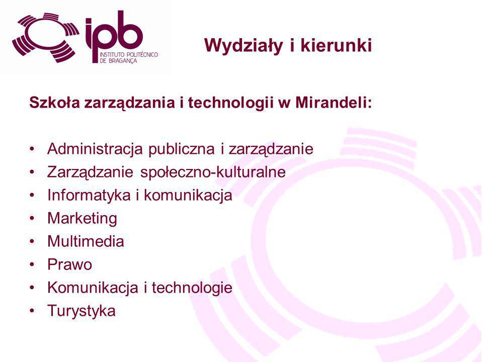 Wydziały i kierunki Szkoła zarządzania i technologii w Mirandeli: