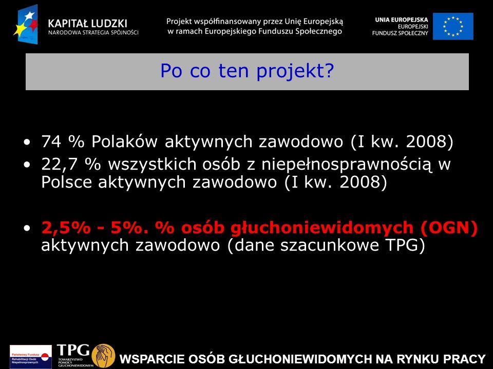 Po co ten projekt 74 % Polaków aktywnych zawodowo (I kw. 2008)