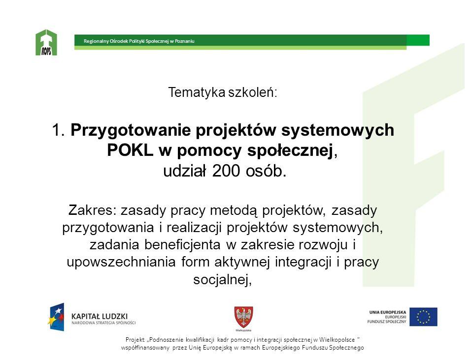 1. Przygotowanie projektów systemowych POKL w pomocy społecznej,