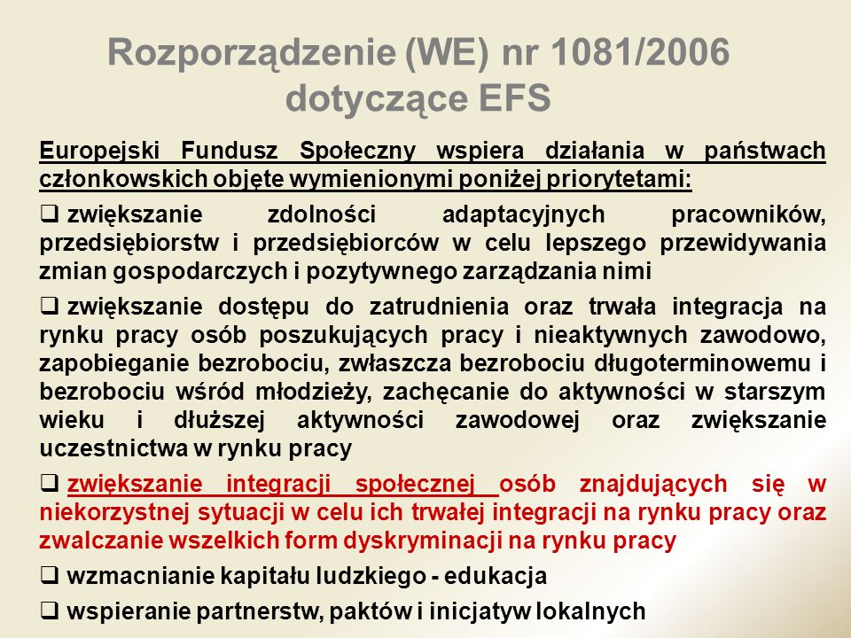 Rozporządzenie (WE) nr 1081/2006 dotyczące EFS