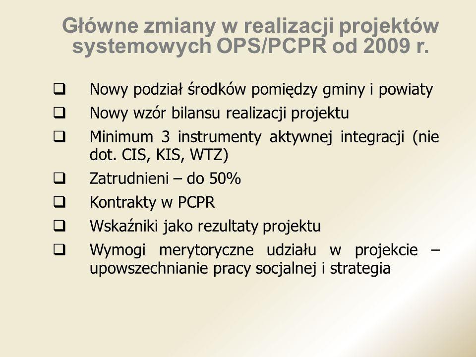 Główne zmiany w realizacji projektów systemowych OPS/PCPR od 2009 r.