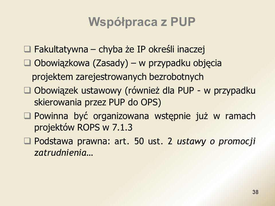 Współpraca z PUP Fakultatywna – chyba że IP określi inaczej