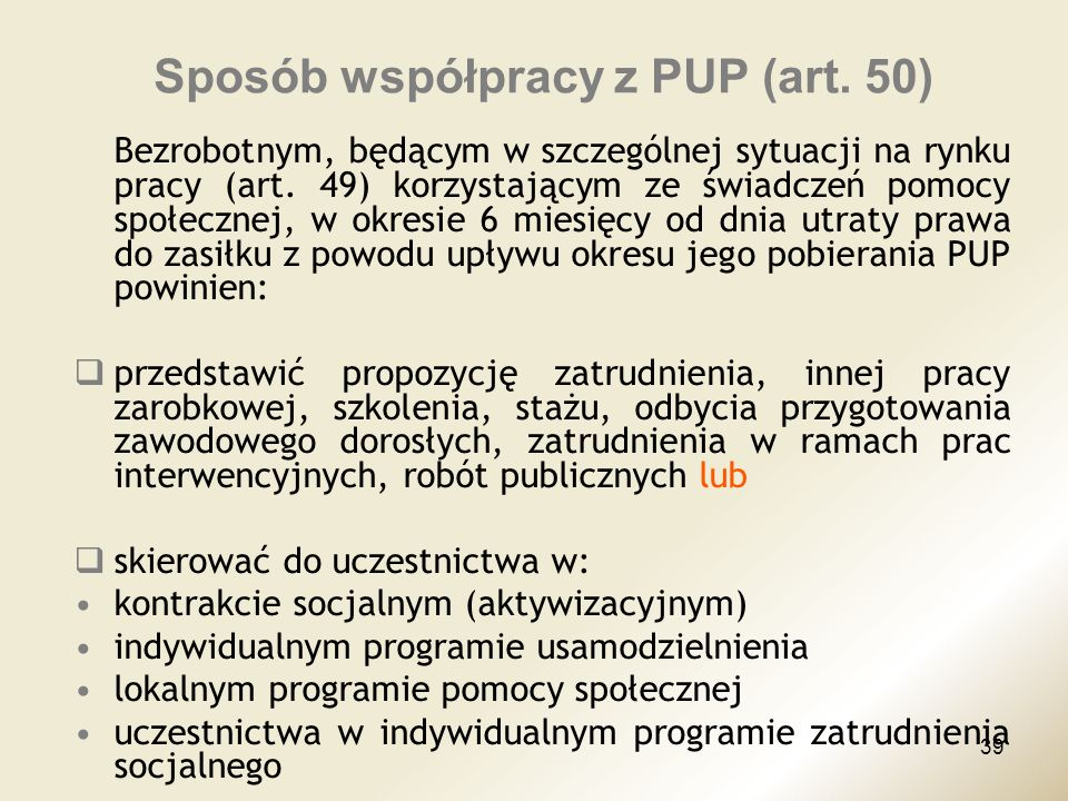 Sposób współpracy z PUP (art. 50)