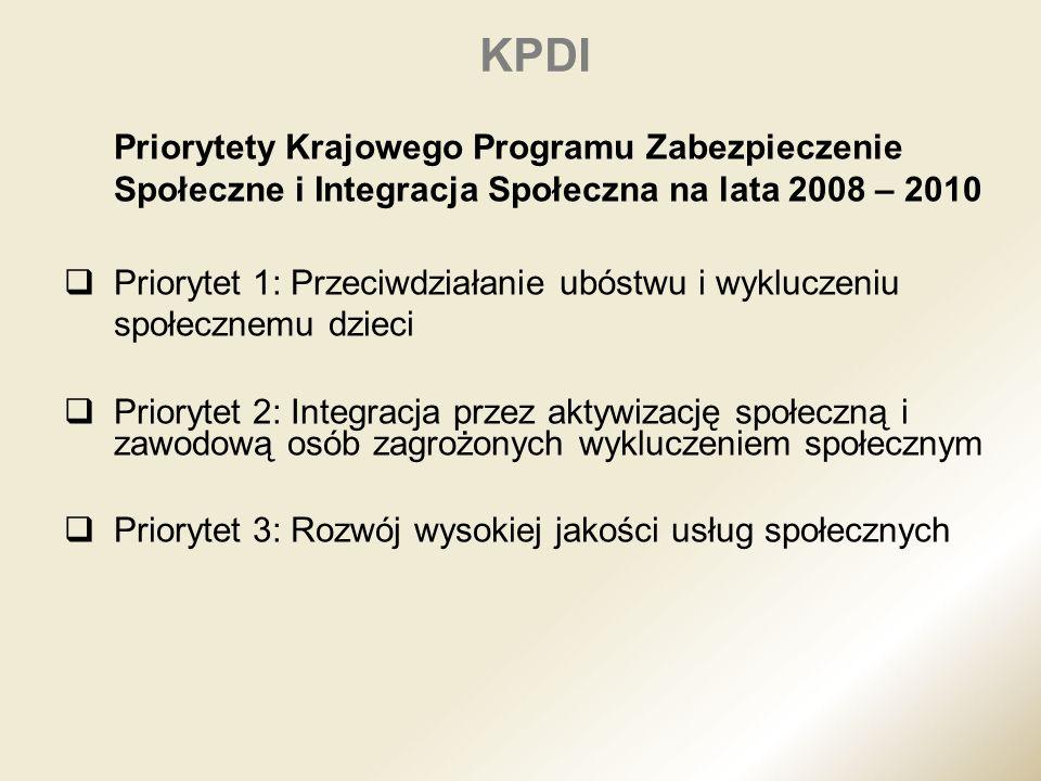 KPDI Priorytety Krajowego Programu Zabezpieczenie Społeczne i Integracja Społeczna na lata 2008 – 2010.