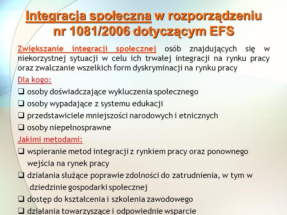 Integracja społeczna w rozporządzeniu nr 1081/2006 dotyczącym EFS