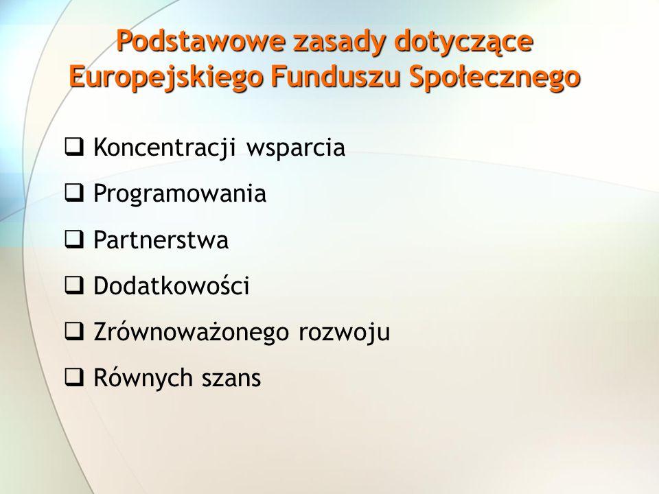 Podstawowe zasady dotyczące Europejskiego Funduszu Społecznego
