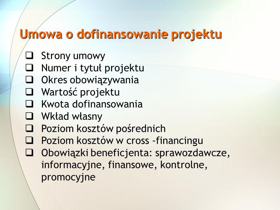 Umowa o dofinansowanie projektu