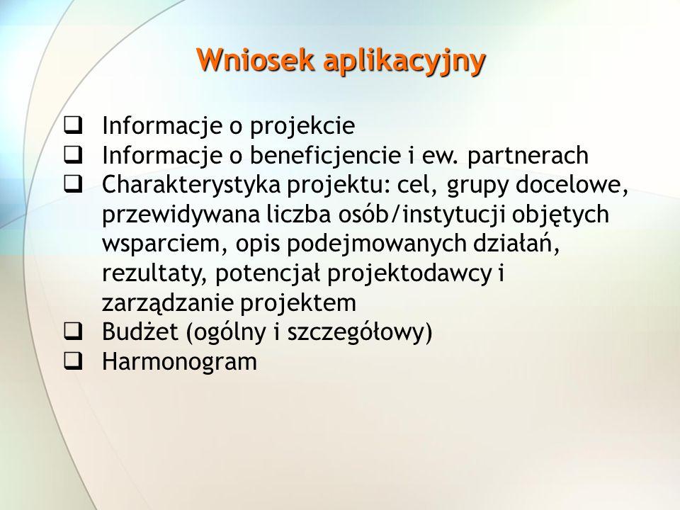 Wniosek aplikacyjny Informacje o projekcie