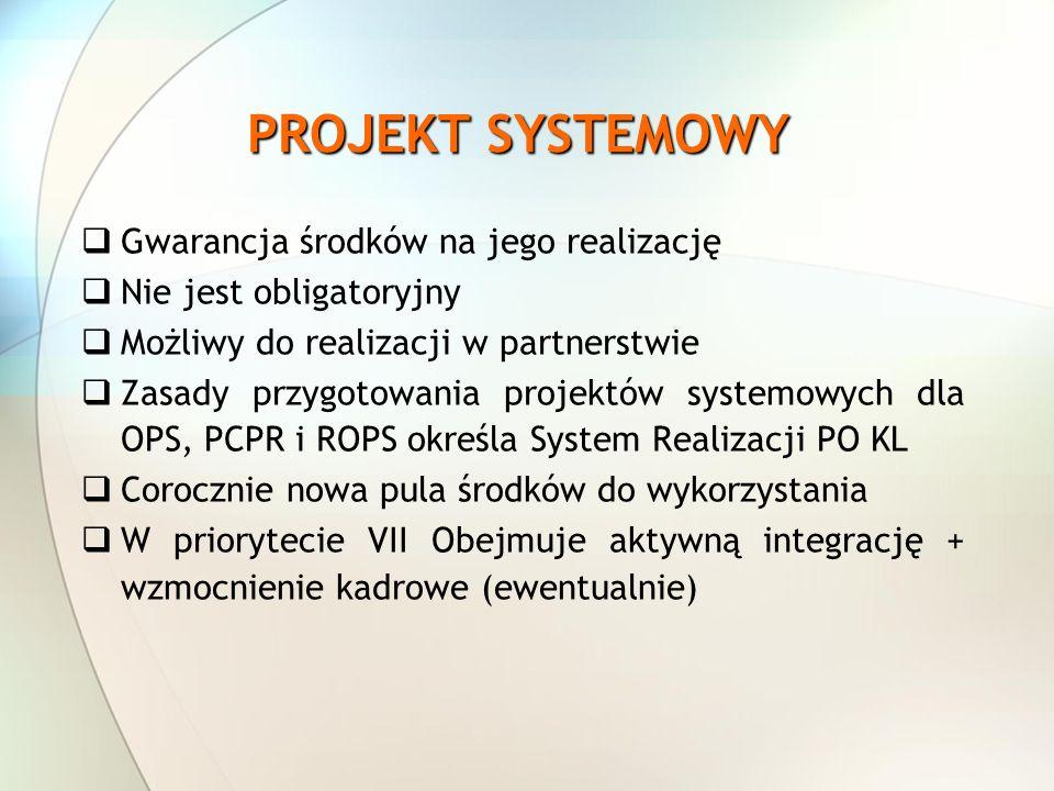 PROJEKT SYSTEMOWY Gwarancja środków na jego realizację
