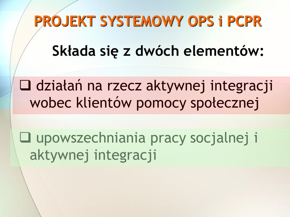PROJEKT SYSTEMOWY OPS i PCPR