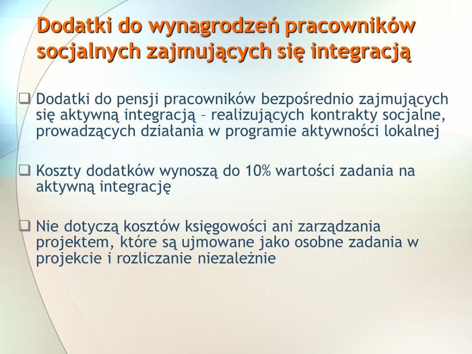 Dodatki do wynagrodzeń pracowników socjalnych zajmujących się integracją