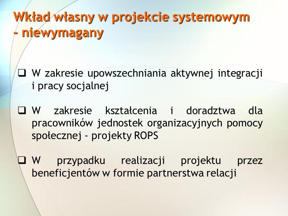 Wkład własny w projekcie systemowym - niewymagany
