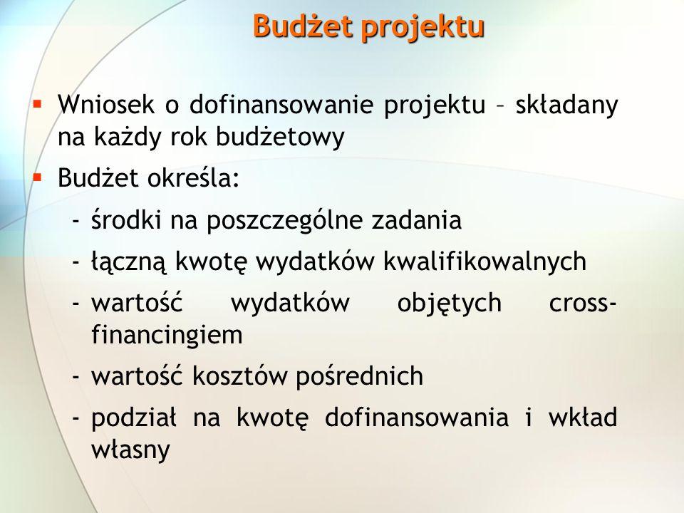Budżet projektu Wniosek o dofinansowanie projektu – składany na każdy rok budżetowy. Budżet określa:
