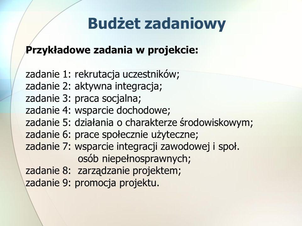 Budżet zadaniowy Przykładowe zadania w projekcie: