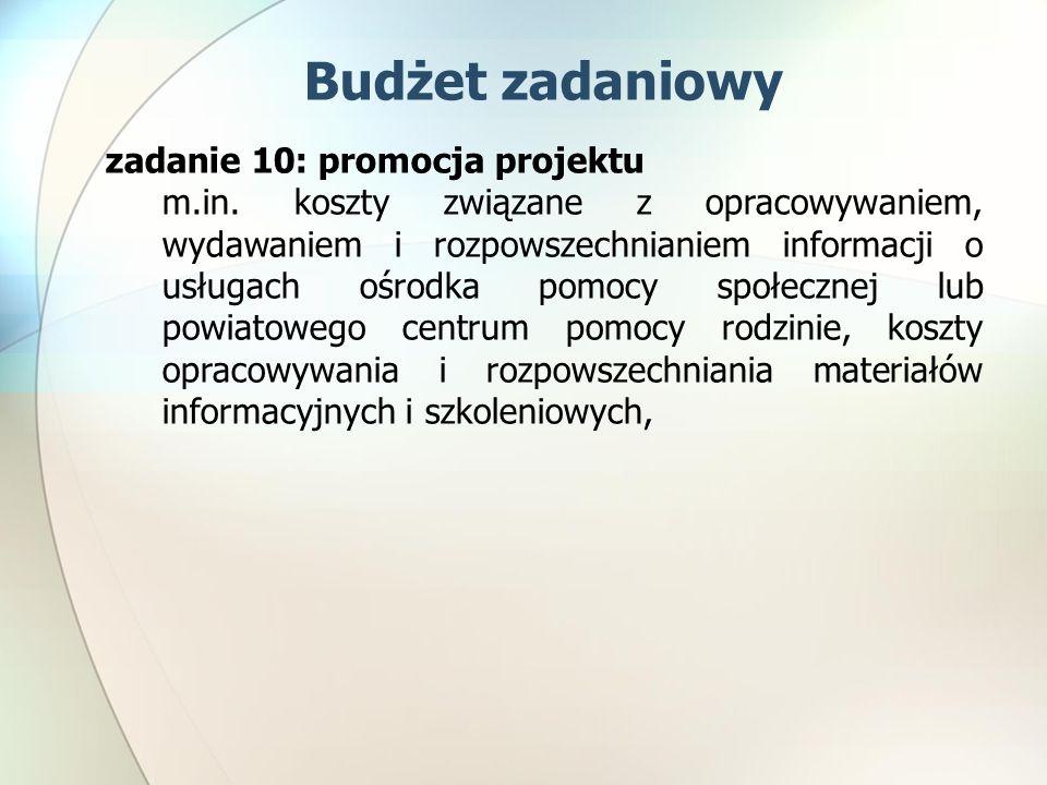Budżet zadaniowy zadanie 10: promocja projektu