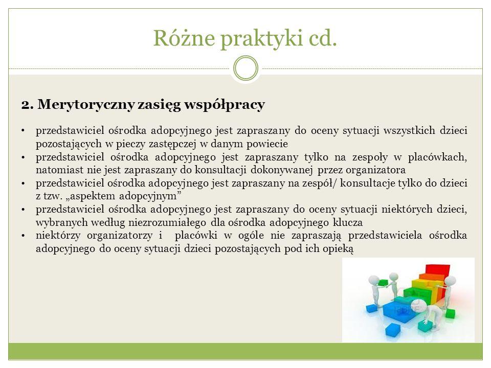 Różne praktyki cd. 2. Merytoryczny zasięg współpracy