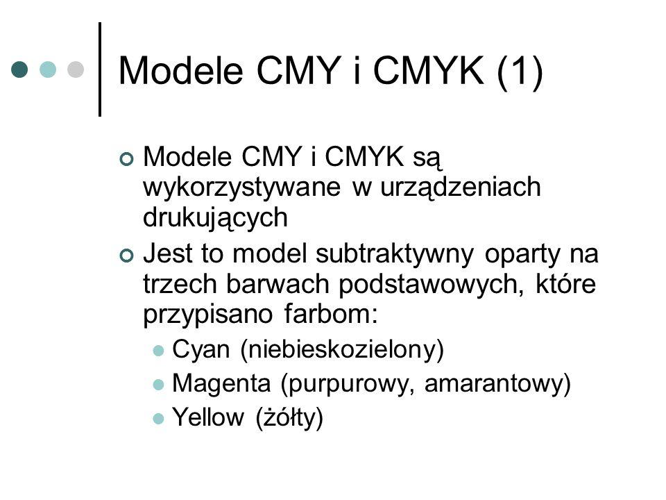 Modele CMY i CMYK (1) Modele CMY i CMYK są wykorzystywane w urządzeniach drukujących.