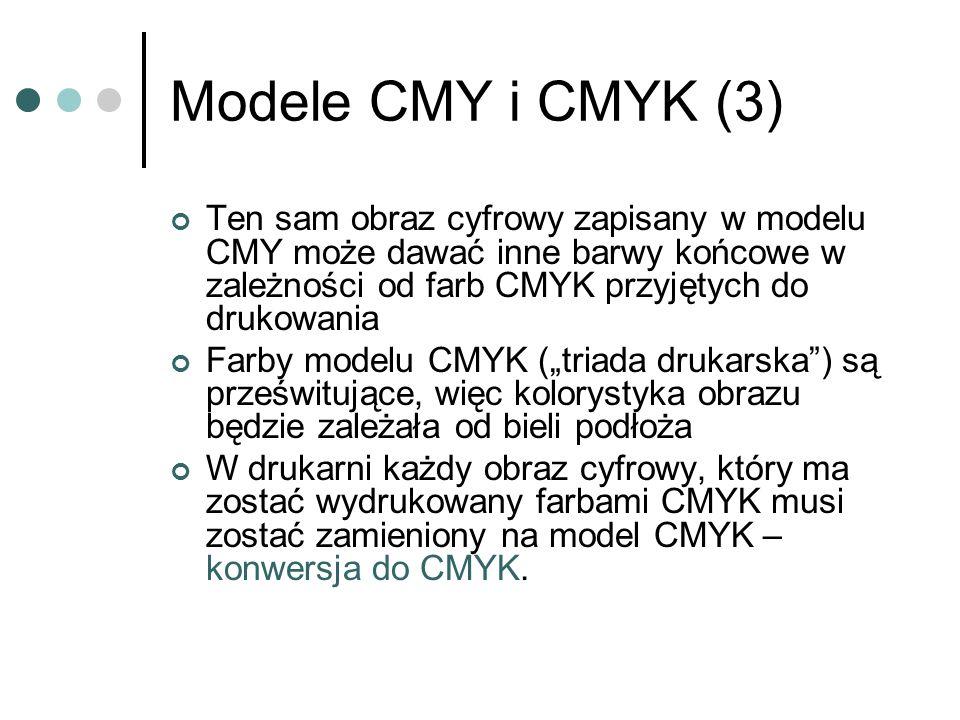 Modele CMY i CMYK (3) Ten sam obraz cyfrowy zapisany w modelu CMY może dawać inne barwy końcowe w zależności od farb CMYK przyjętych do drukowania.
