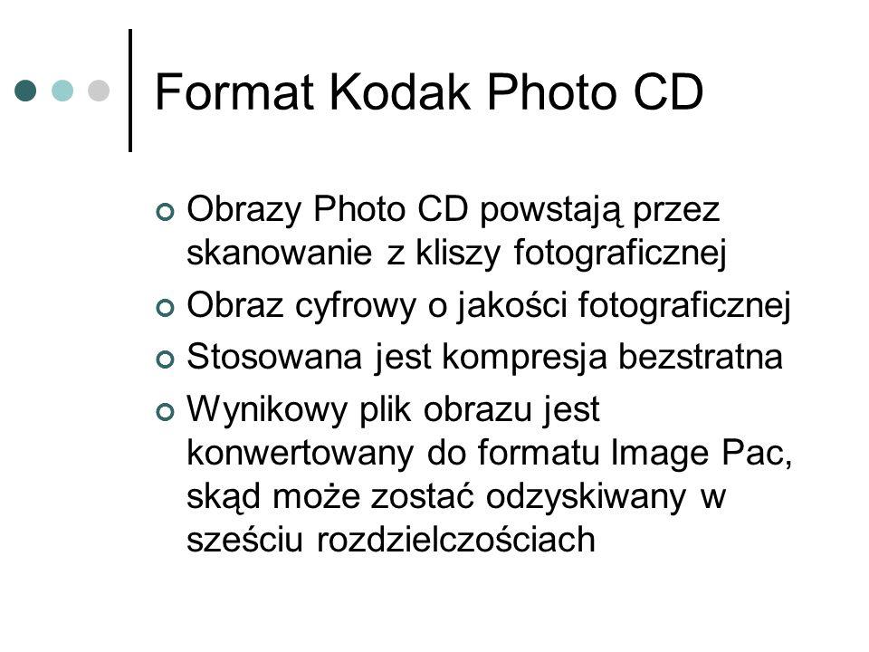 Format Kodak Photo CD Obrazy Photo CD powstają przez skanowanie z kliszy fotograficznej. Obraz cyfrowy o jakości fotograficznej.