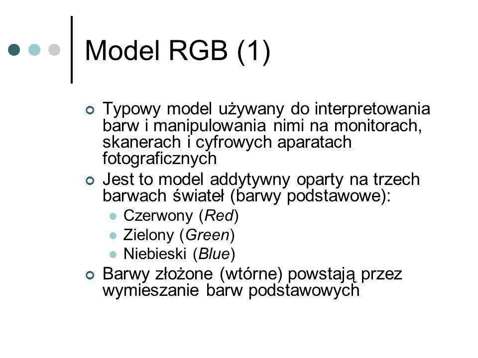 Model RGB (1) Typowy model używany do interpretowania barw i manipulowania nimi na monitorach, skanerach i cyfrowych aparatach fotograficznych.