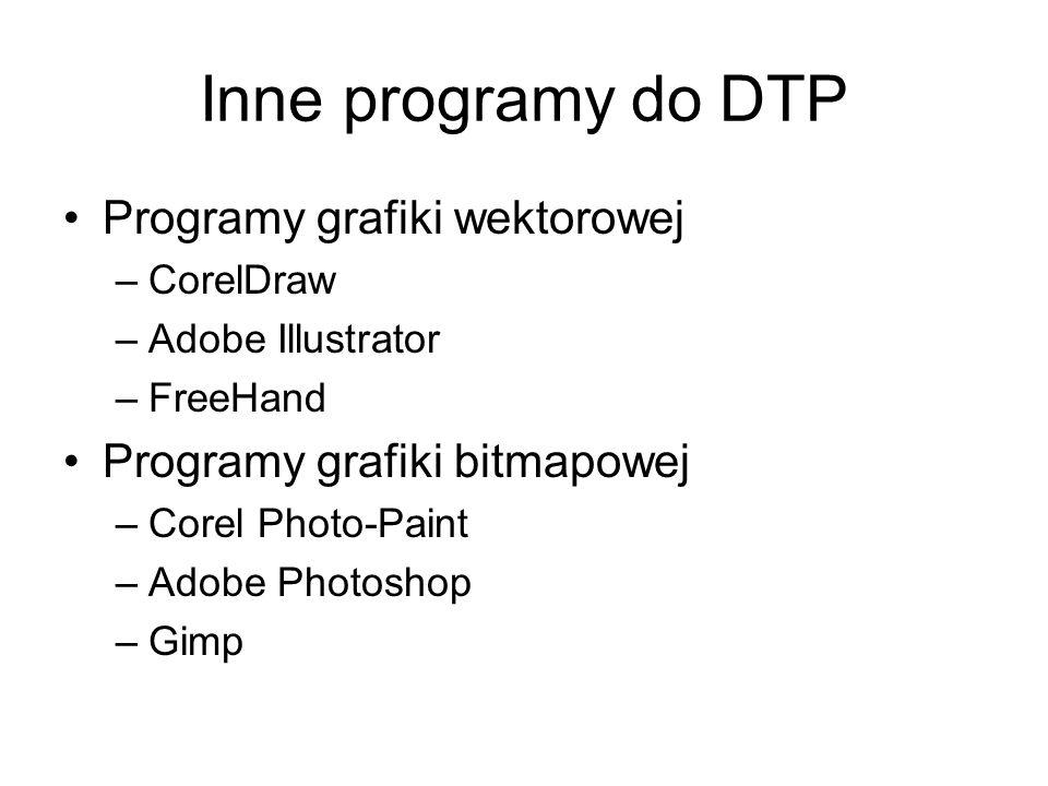 Inne programy do DTP Programy grafiki wektorowej