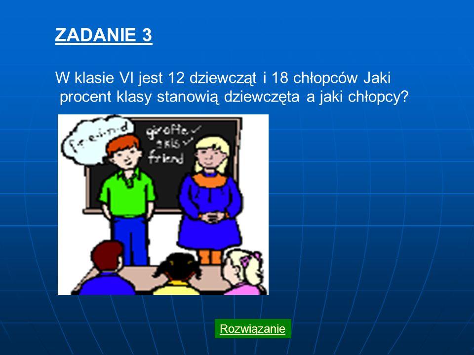 ZADANIE 3 W klasie VI jest 12 dziewcząt i 18 chłopców Jaki