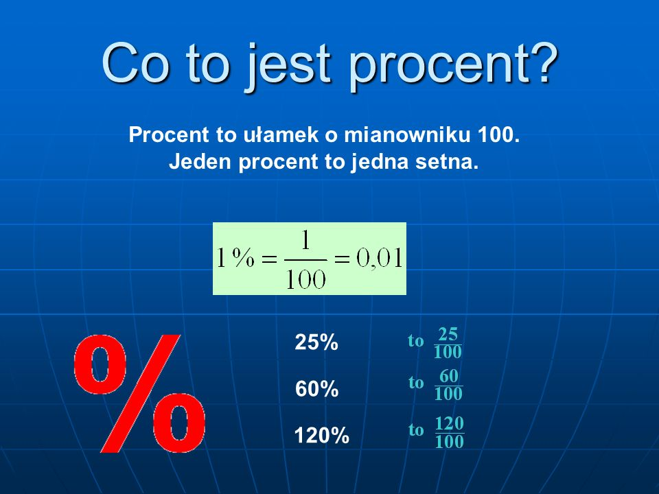 Procent to ułamek o mianowniku 100. Jeden procent to jedna setna.