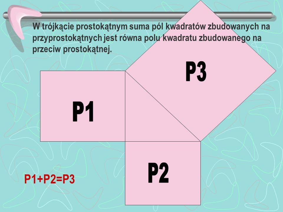 W trójkącie prostokątnym suma pól kwadratów zbudowanych na przyprostokątnych jest równa polu kwadratu zbudowanego na przeciw prostokątnej.