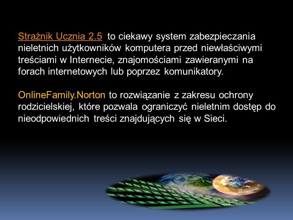 Strażnik Ucznia 2.5 to ciekawy system zabezpieczania nieletnich użytkowników komputera przed niewłaściwymi treściami w Internecie, znajomościami zawieranymi na forach internetowych lub poprzez komunikatory.