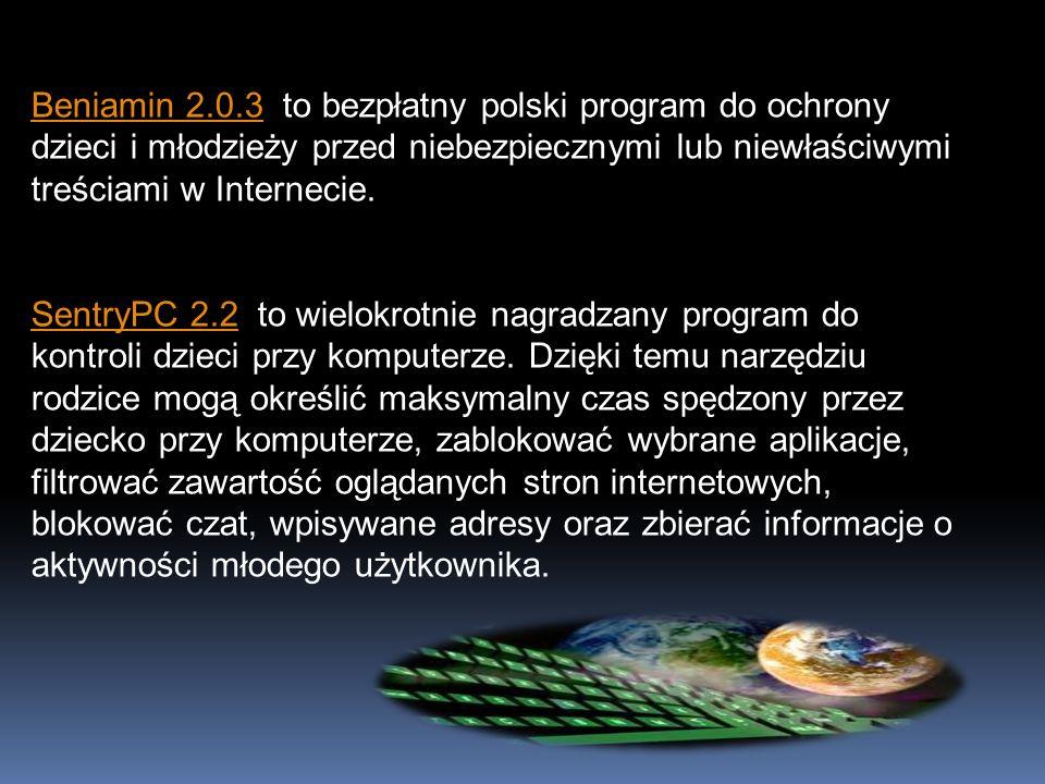 Beniamin 2.0.3 to bezpłatny polski program do ochrony dzieci i młodzieży przed niebezpiecznymi lub niewłaściwymi treściami w Internecie.