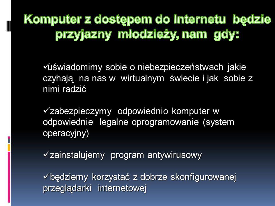 Komputer z dostępem do Internetu będzie przyjazny młodzieży, nam gdy: