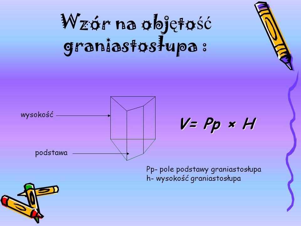 Wzór na objętość graniastosłupa :