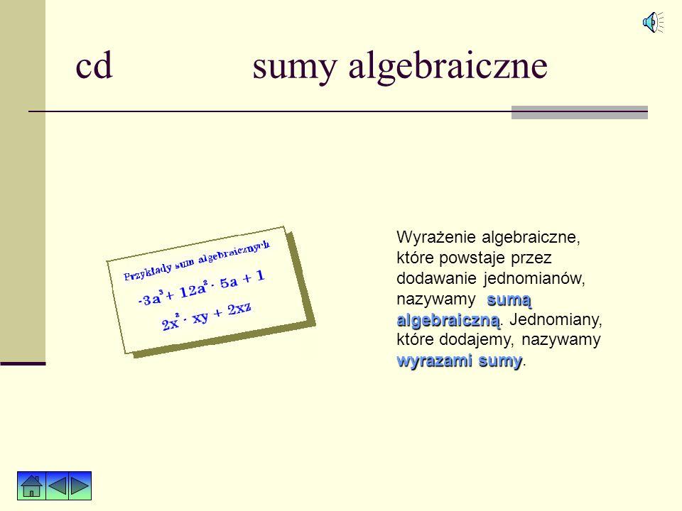 cd sumy algebraiczne