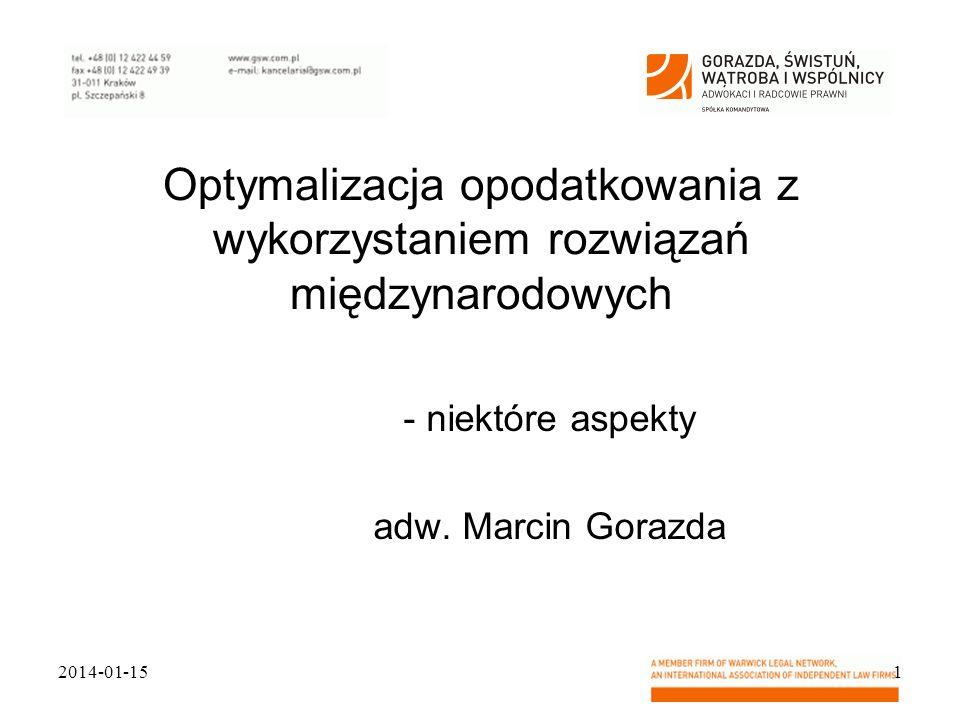 niektóre aspekty adw. Marcin Gorazda
