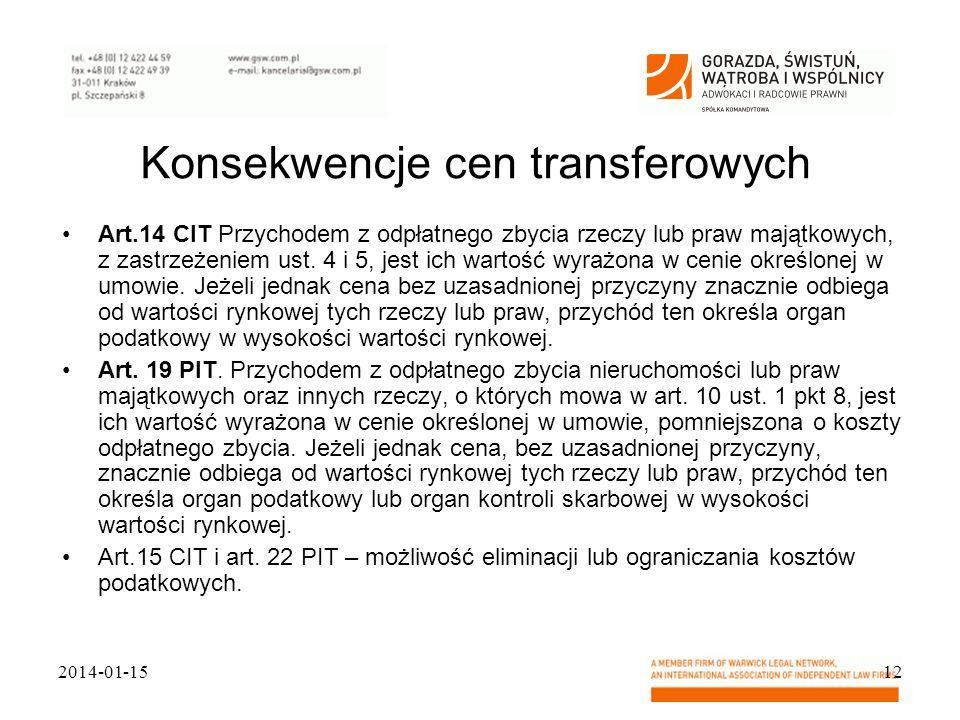 Konsekwencje cen transferowych