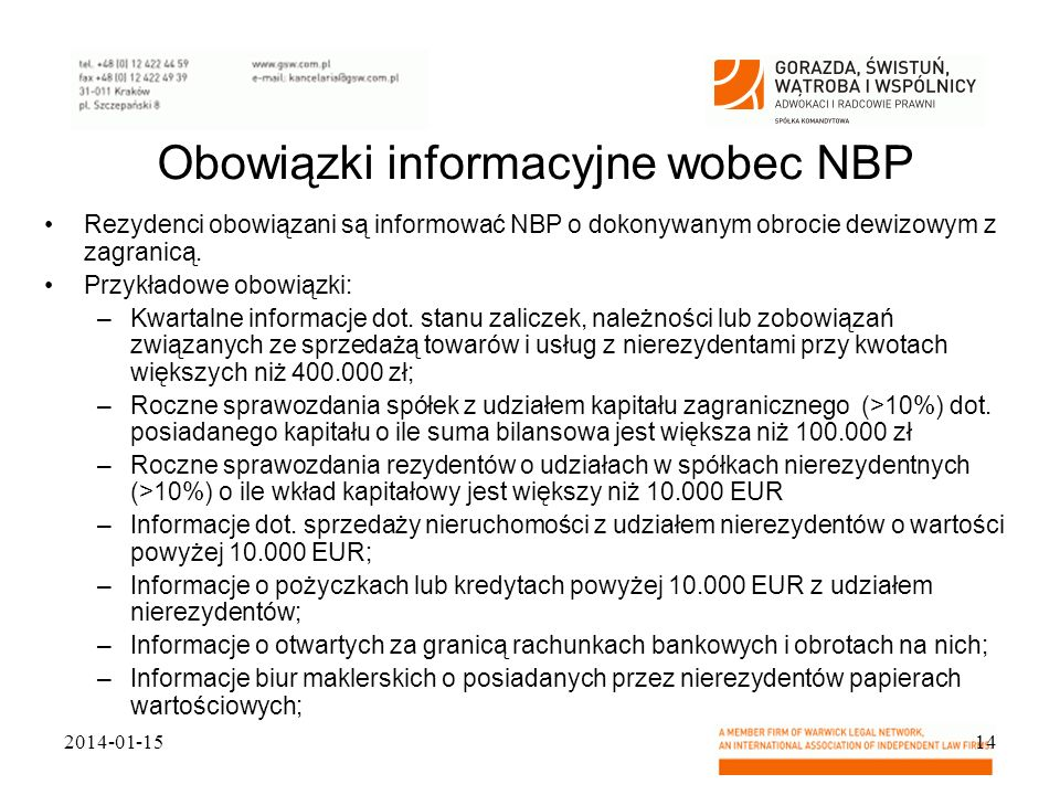 Obowiązki informacyjne wobec NBP