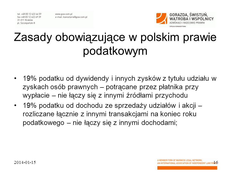 Zasady obowiązujące w polskim prawie podatkowym