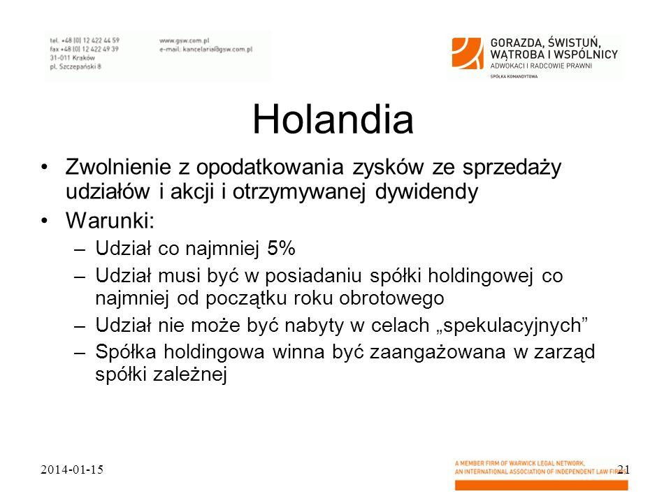Holandia Zwolnienie z opodatkowania zysków ze sprzedaży udziałów i akcji i otrzymywanej dywidendy. Warunki: