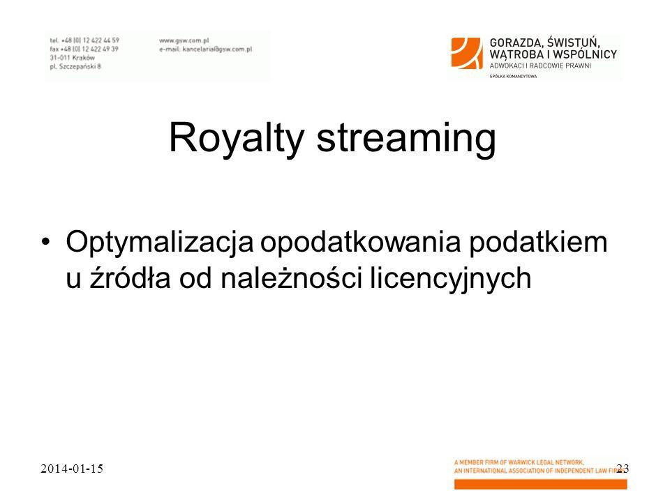Royalty streaming Optymalizacja opodatkowania podatkiem u źródła od należności licencyjnych.