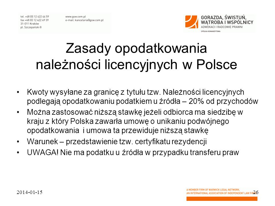 Zasady opodatkowania należności licencyjnych w Polsce