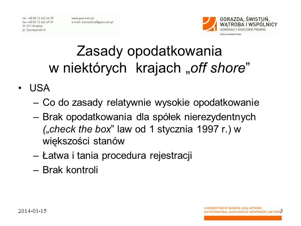 """Zasady opodatkowania w niektórych krajach """"off shore"""