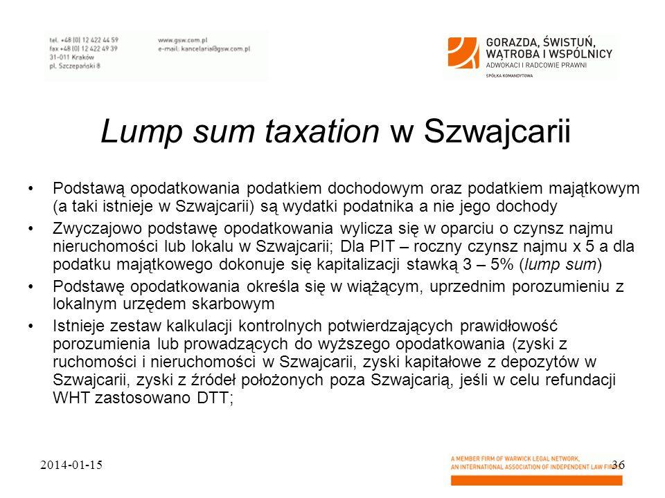 Lump sum taxation w Szwajcarii