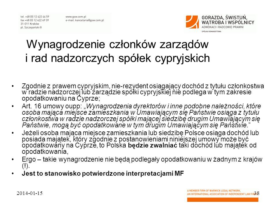 Wynagrodzenie członków zarządów i rad nadzorczych spółek cypryjskich