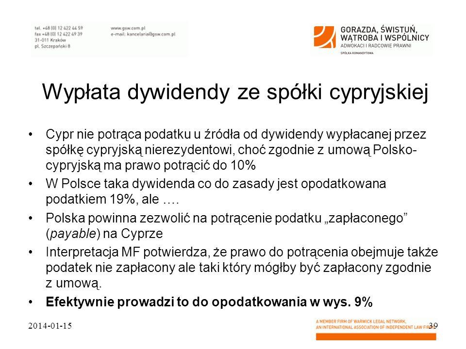 Wypłata dywidendy ze spółki cypryjskiej