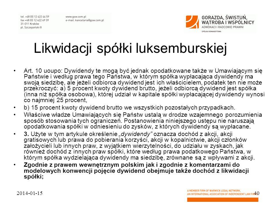Likwidacji spółki luksemburskiej
