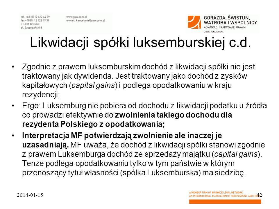 Likwidacji spółki luksemburskiej c.d.