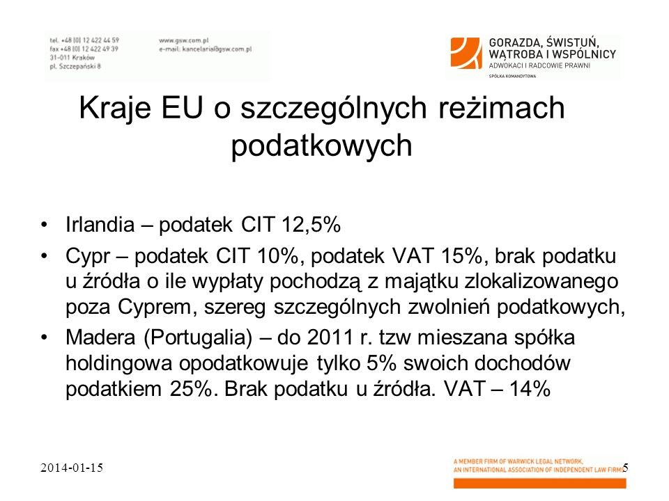 Kraje EU o szczególnych reżimach podatkowych