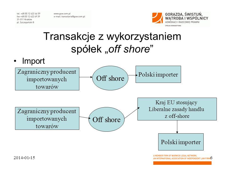 """Transakcje z wykorzystaniem spółek """"off shore"""