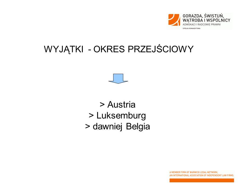 WYJĄTKI - OKRES PRZEJŚCIOWY > Austria > Luksemburg > dawniej Belgia